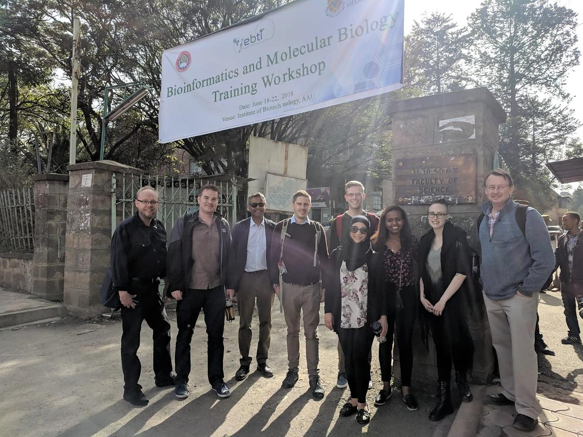The 2018 One Health Ethiopia team, from left, includes: Guido van Marle, James Wasmuth, Dylan Pillai, James Cheaveau, Stephen Pollo, Alya Heirali, Ruth Legese, Kaylee Rich, and John Gilleard.