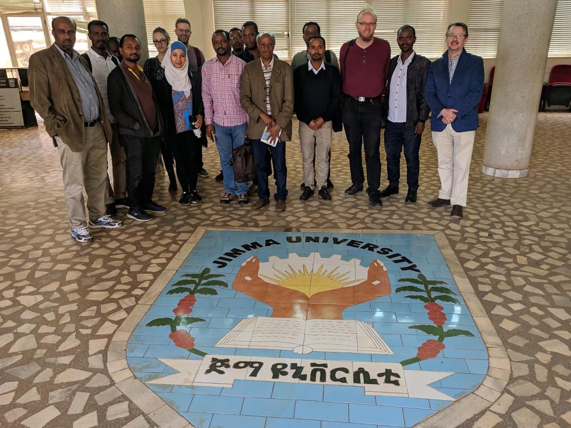 At Jimma University, the team facilitated a workshop in bioinformatics and continues to build further research collaboratons with the university in Ethiopia. Pictured here: Kaylee Rich, Stephen Pollo, Alya Heirali, Lashitew Gedamu, Guido van Marle and John Gilleard.