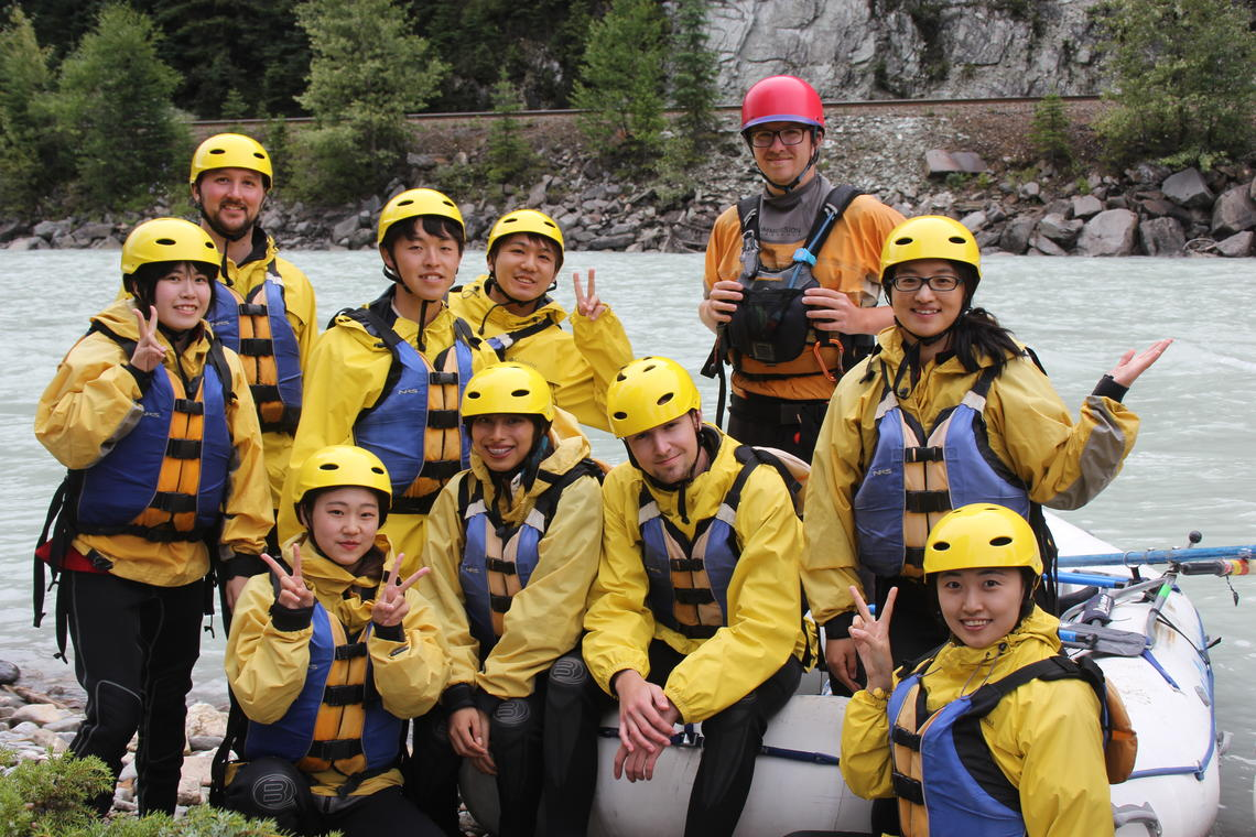 International students on rafting excursion near Banff.