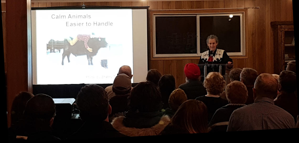 Grandin speaks to ranchers and 4-H clubs at Dog Pound Community Hall.