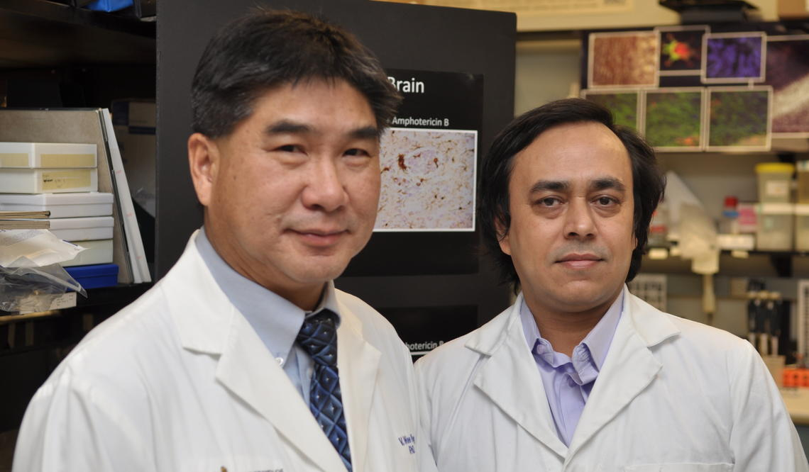 Wee Yong (left) and Susobhan Sarkar screened 1040 compounds before confirming niacin for the study.