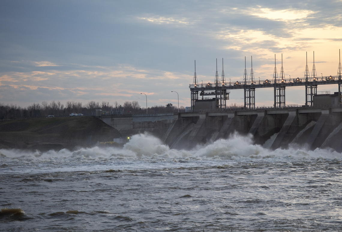 Water rushes through the Carillon Hydro electric dam in Québec.