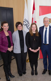 At the Canada Research Chair announcement at the University of Calgary, from left: Kirsty Duncan with Sabine Gilch, Brandy Callhan, André Buret, Lesley Rigg, and Leo Belostotski