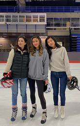 Law students Ana Cherniak-Kennedy, Aisha Tung and Nesta Chan at the Olympic Oval