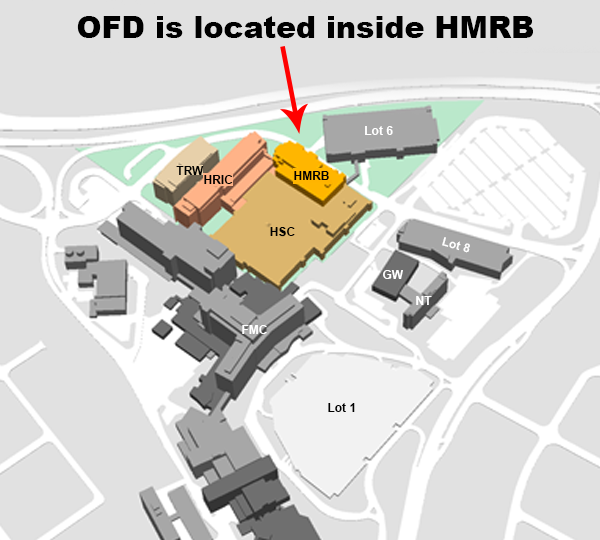 Foothills parking map with a red arrow point to HMRB and stating that OFD is located within HMRB.