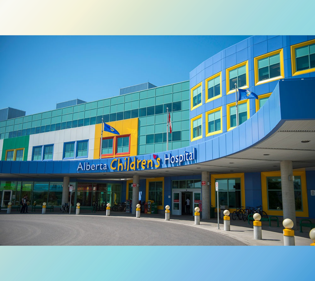 The entrance and front face of the Alberta Children's Hospital