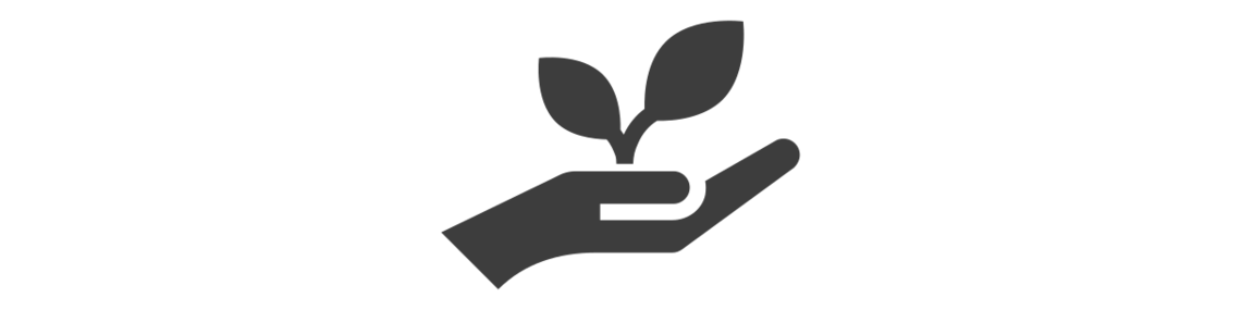 Icon of a hand holding a plant