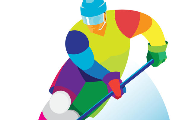 Illustration of hockey player with stick